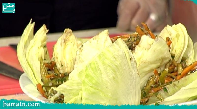 فیلم آموزش طرز تهیه سالاد سبزیجات خوشمزه با کاهو