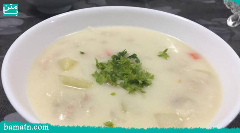 طرز تهیه سوپ شیر و قارچ با خامه مرحله به مرحله با دستور پخت