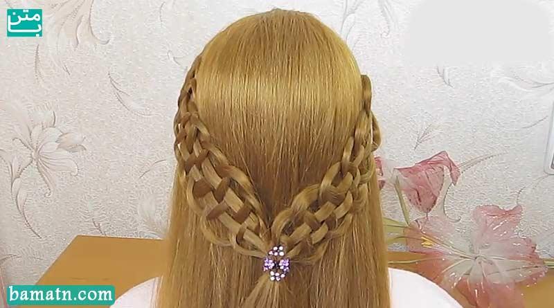 آموزش بافت مو ساده و شیک پشت سر دخترانه برای خانم ها