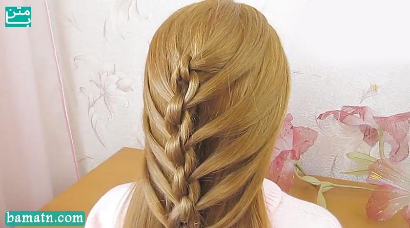 ویدیو آموزش بافت مو ساده و زیبا دخترانه مناسب برای خانم ها