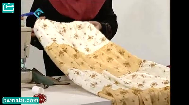 آموزش دوخت دامن سه چینه با الگو خیاطی خانم عمرانی