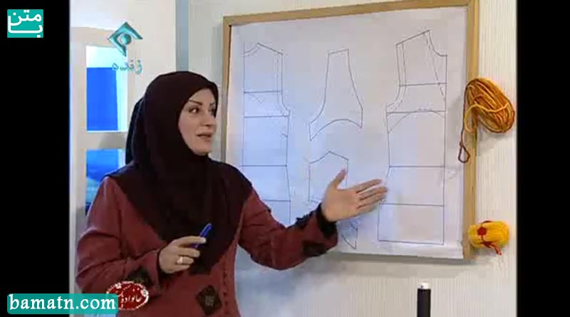 آموزش دوخت سه جاف یقه و حلقه سارافن با الگو خیاطی خانم عمرانی