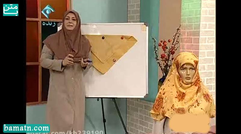 آموزش دوخت روسری لبنانی با الگو خیاطی خانم عمرانی