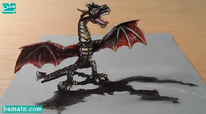 آموزش نقاشی سه بعدی اژدها با مداد رنگی روی کاغذ