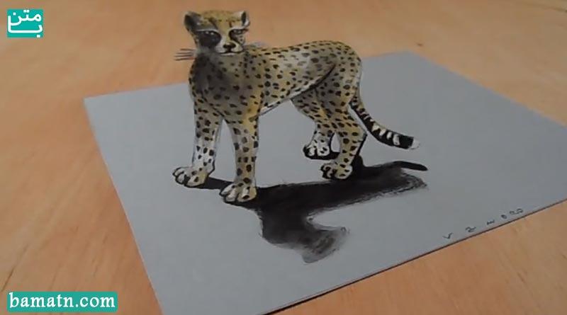 آموزش نقاشی ببر سه بعدی با مداد رنگی و رنگ آمیزی زیبا