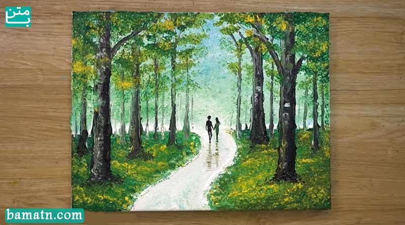 نقاشی عاشقانه فانتزی ساده دونفره دختر پسر با رنگ روغن