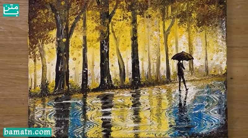 فیلم آموزش نقاشی روز بارانی با رنگ روغن روی کاغذ