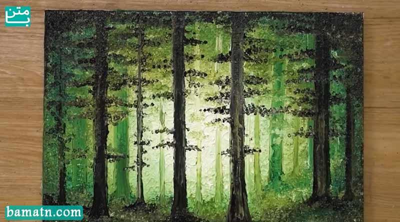 آموزش نقاشی جنگل سرسبز زیبا و ساده با استفاده از رنگ روغن