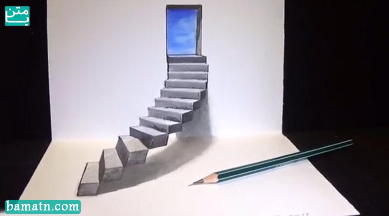 آموزش نقاشی سه بعدی پله ساده برای کودکان با مداد رنگی