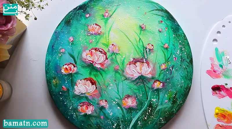 آموزش نقاشی سبزه و گل زیبا و ساده با رنگ روغن روی کاغذ
