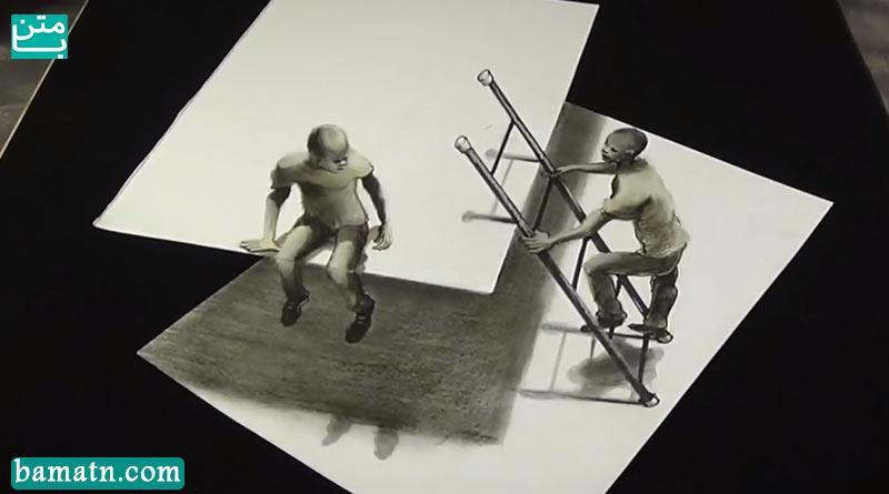 فیلم نقاشی سه بعدی نردبان و بالا رفتن از آن با مداد رنگی روی کاغذ