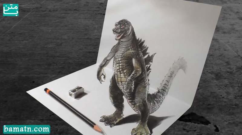 آموزش نقاشی گودزیلا سه بعدی با مداد رنگی روی کاغذ با رنگ آمیزی