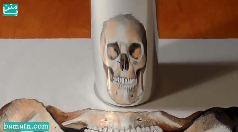 آموزش نقاشی جمجمه سه بعدی با مداد رنگی روی کاغذ