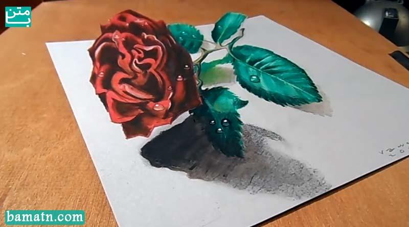 آموزش نقاشی گل رز قرمز با مداد رنگی به صورت سه بعدی روی کاغذ