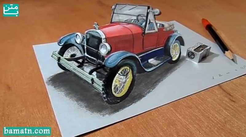 آموزش نقاشی ماشین جیپ سه بعدی با مداد رنگی روی کاغذ با رنگ آمیزی