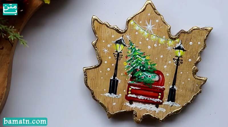 نقاشی کریسمس فانتزی ساده با درخت کاج با استفاده از رنگ روغن