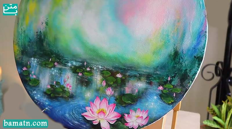 آموزش نقاشی برگ و گل روی آب با رنگ روغن