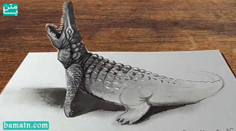 آموزش نقاشی تمساح وحشی سه بعدی با مداد رنگی روی کاغذ