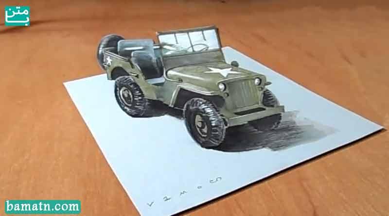 آموزش نقاشی سه بعدی ماشین جیپ با مداد رنگی روی کاغذ