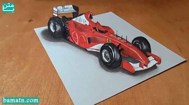 آموزش نقاشی ماشین مسابقه سه بعدی با مداد رنگی روی کاغذ