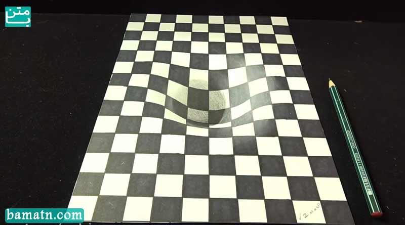 آموزش نقاشی تخته شطرنج سه بعدی با مداد رنگی و رنگ آمیزی