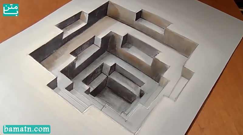 آموزش نقاشی چند ضلعی سه بعدی با مداد رنگی و رنگ آمیزی