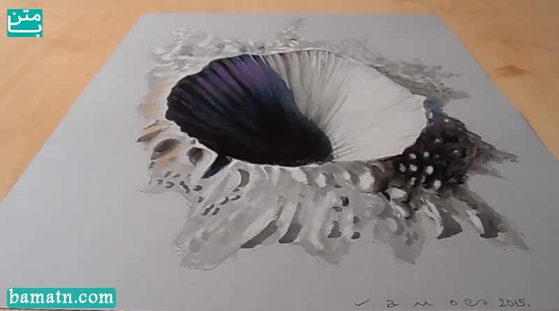 آموزش نقاشی چاله سه بعدی با مداد رنگی و رنگ آمیزی روی کاغذ
