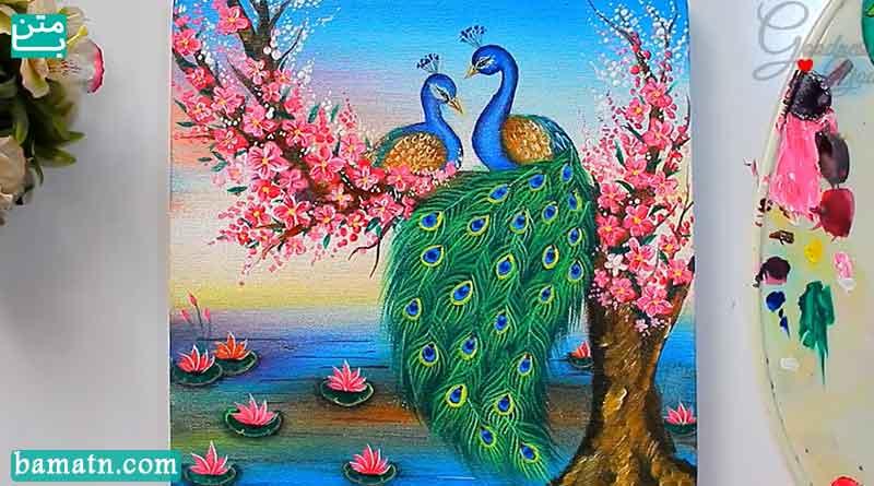 آموزش نقاشی رنگ روغن طاووس با رنگ آمیزی زیبا روی کاغذ