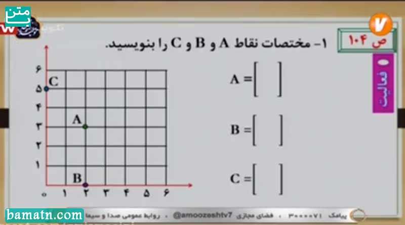 آموزش مختصات ریاضی هفتم فصل هشتم در شبكه آموزش