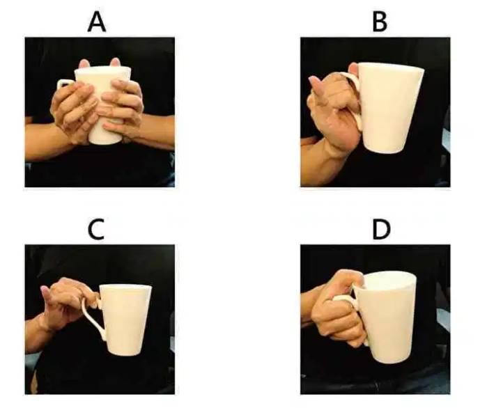 نگه داشتن لیوان با کف دستها